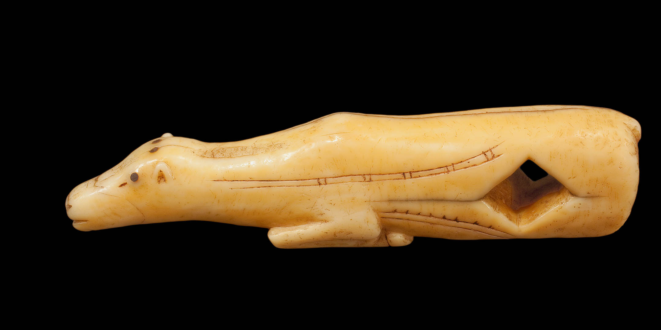 Inuit or Thule Arrow Straightener in the form of a Caribou  Ivory